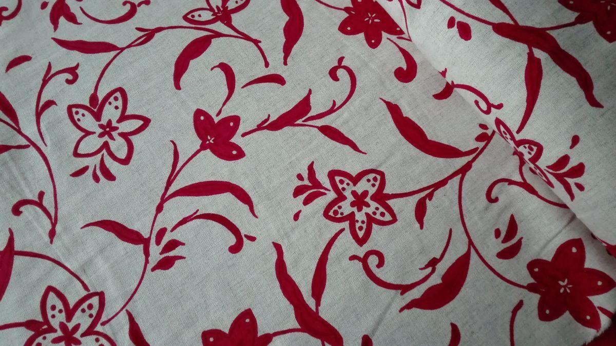 Pevnější plátno se lnem červené květy