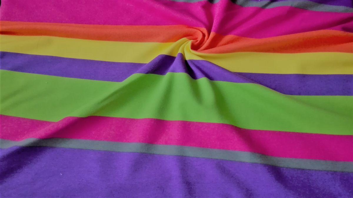 Teplákovina s elastanem barevné pruhy