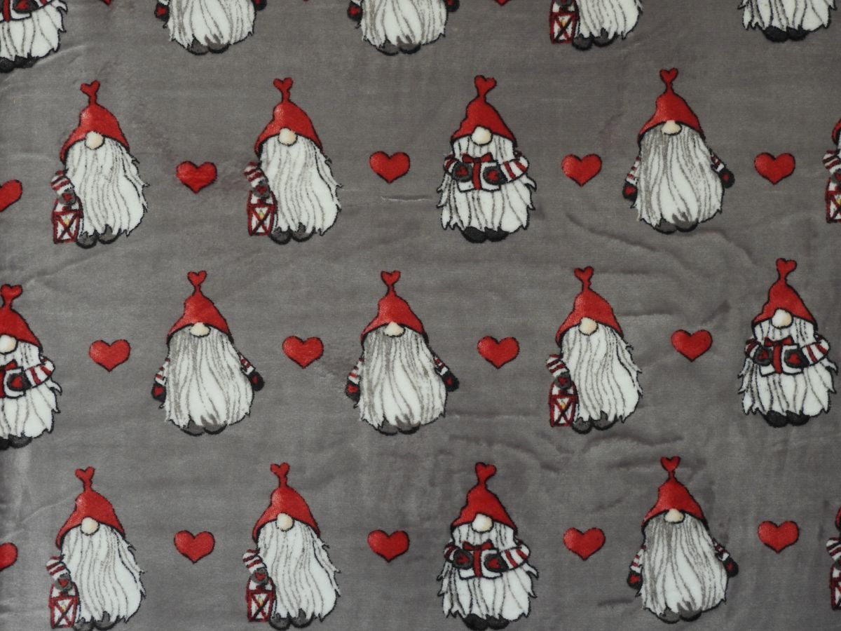 Flanel fleece vánoční skřítci