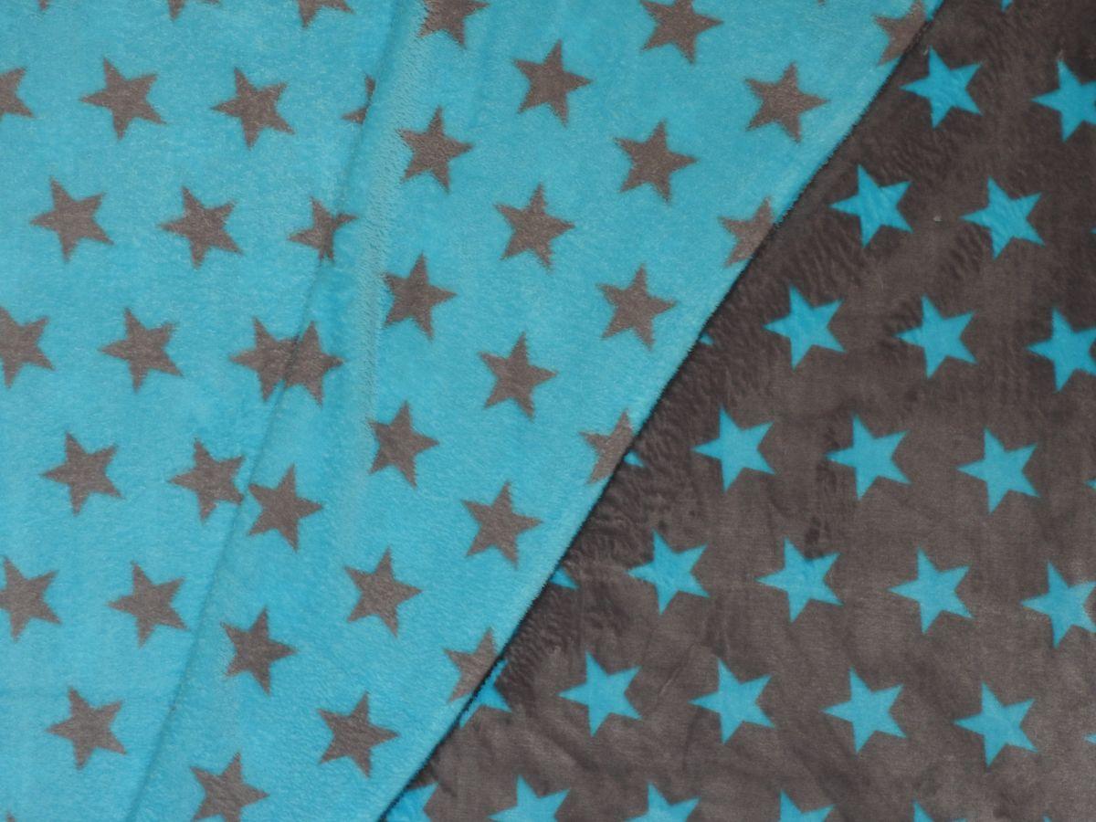 Flanel fleece oboustranné hvězdičky