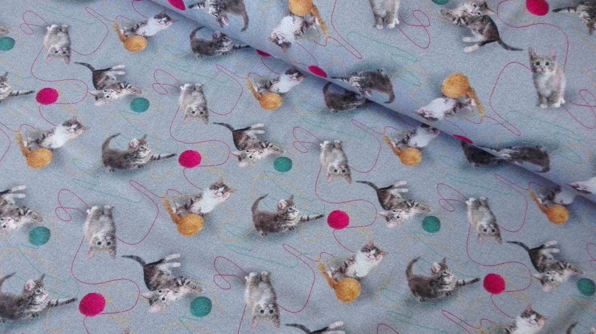 Elastický úplet DIGITÁLNÍ TISK koťátka s vlnou na šedé