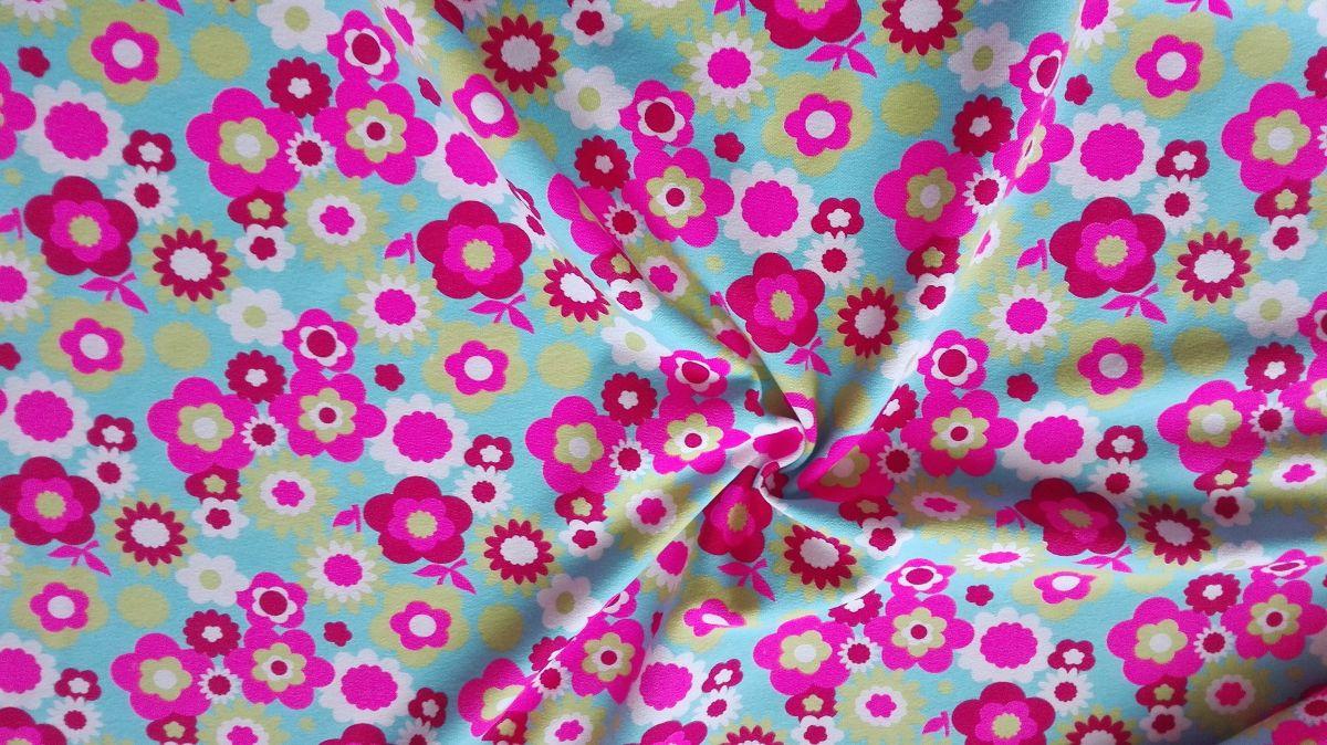 Teplákovina s elastanem růžové květy na tyrkysové