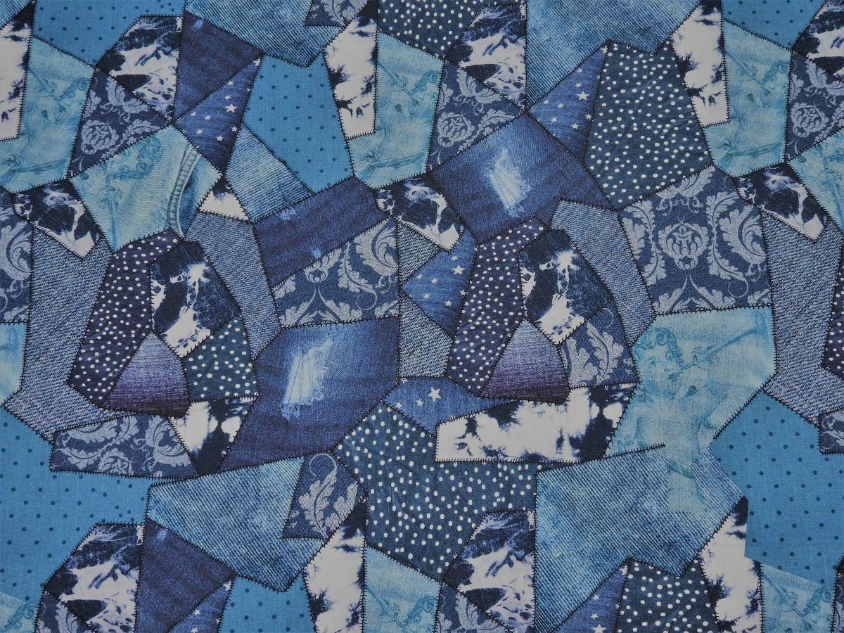 Softshell zimní s potiskem modrý patchwork digi tisk