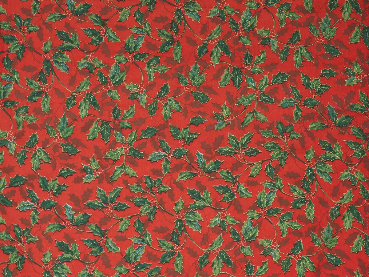 jemné plátno s potiskem VÁNOČNÍ cesmína na červené