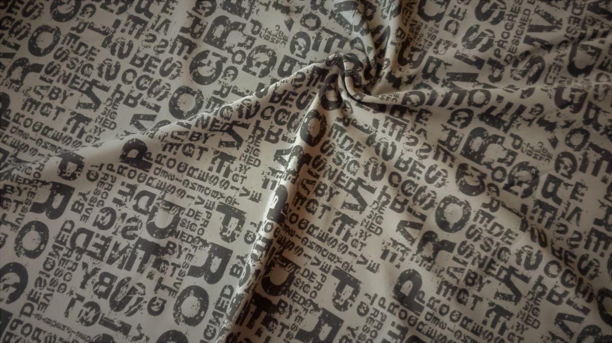Teplákovina s elastanem nápisy na khaki