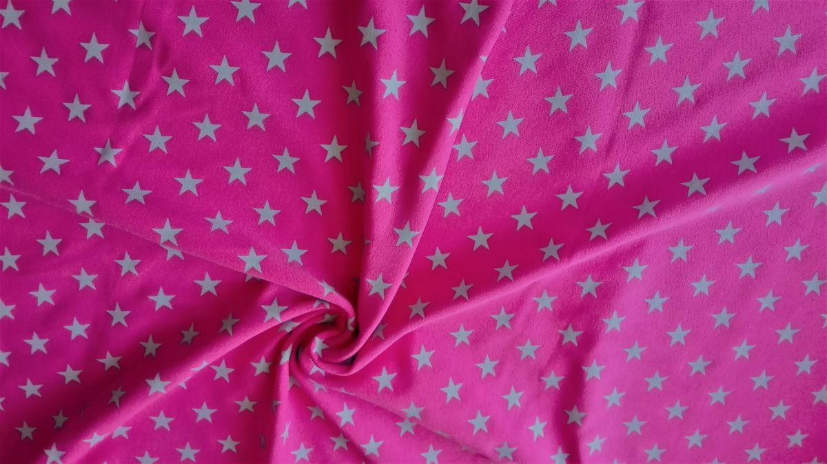 Teplákovina s elastanem stříbrné hvězdičky na růžové