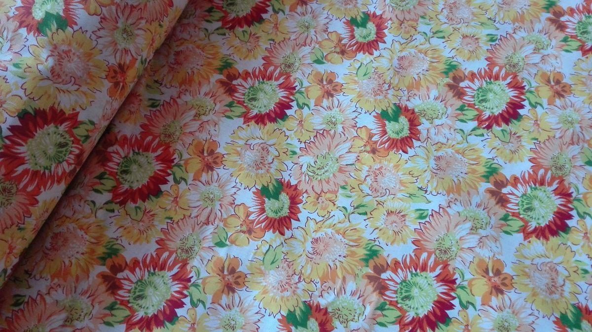 Plátno s potiskem květiny žlutooranžové